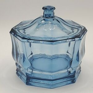 Vintage-Indiana-Glass-Lidded-Candy-Dish-Concord-Blue-Octagon-Panel-8-Sided