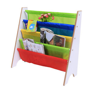Image Is Loading Wood Sling Canvas Bookcase Bookshelf Magazine Book Display