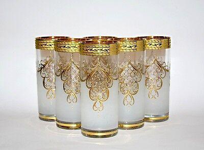 """6 Wassergläser, Bohemia Kristallglas, Handbemalt in Gold,""""Neu & OVP"""""""