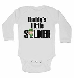 Daddy's Little Soldier - Long Sleeve Cotton Baby Vests for Boys, Girls
