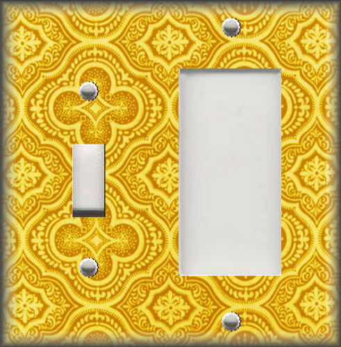 Metal Light Switch Plate Cover Moroccan Tile Pattern Yellow Boho Home Decor