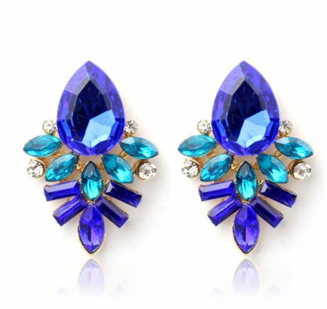 #1039 Fashion Women Lady Rhinestone Blue Crystal Drop Alloy Ear Studs Earrings