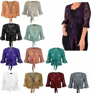 NEW WOMENS LADIES PLUSSIZE FLORAL LACE SEQUIN 3 4SLEEVE TIE UP SHRUG ... 98481415442c