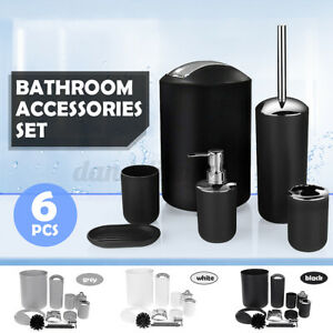 6Pcs Bath Bathroom Accessories Set Toothbrush Holder Soap Dispenser Toilet