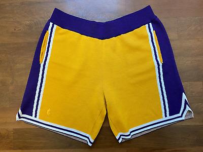 Rétro Los Angeles Lakers Kobe Bryant Basketball Cousu Shorts Jaune