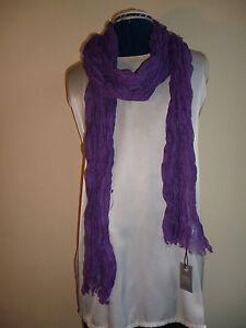 100% Linen Crinkled Scarf Purple John Lewis Brand New