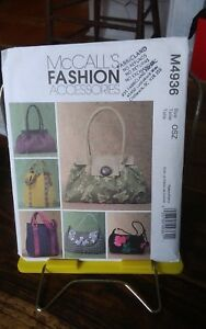 Oop-Mccalls-Fashion-4936-handbags-lined-inside-pockets-flaps-6-styles-NEW