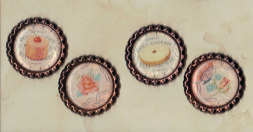 Copper Flat Bottle Cap Accents PASTRIES FLOWERS 4 Graphic45 CAFE PARISIAN #403
