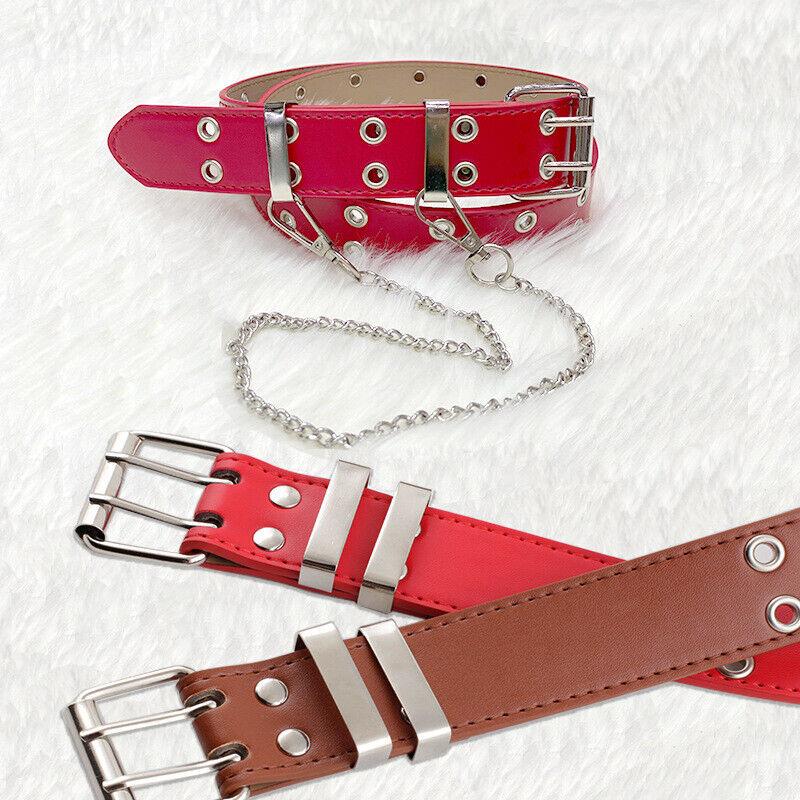 Punk PU Leather Women Chain Belt Double Eyelet Body Waist Strap Jeans Bondage
