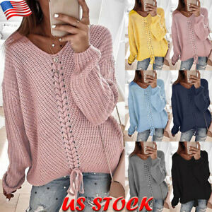 Women-039-s-V-Neck-Lace-Up-Jumper-Sweaters-Casual-Loose-Knitted-Pullover-Tops-Blouse