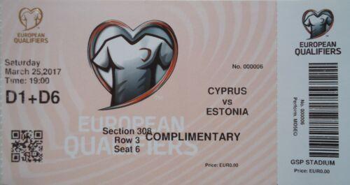 mint TICKET LS 25.3.2017 Zypern Cyprus Estland Estonia