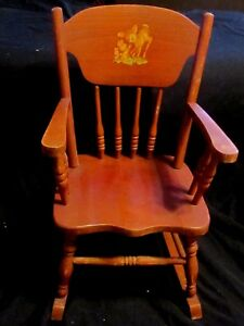 Terrific Details About Vintage Child Size Solid Wood 25 Rocking Chair Accented W Two Bunnies Deer Creativecarmelina Interior Chair Design Creativecarmelinacom