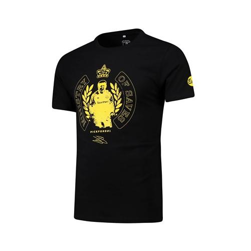 Everton Football T-Shirt Men's Jordan Pickford Graphic T-Shirt - Black - New