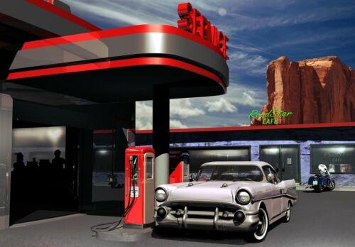 VLIES Fototapete-VINTAGE AUTO- -Oldtimer Cars Retro Diner Route 66 Design 3303V
