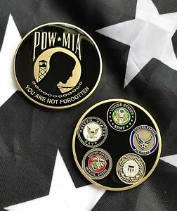 Details about POW MIA 5 Branches of Military USAF ARMY USMC USN USCG DOD  Challenge Coin