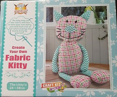 Childrens Create and Sew Your Own Fabric Kitty Stuffed Soft