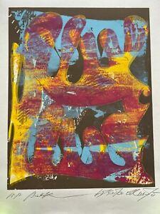 "Modern ABSTRACT Serigraph Print Atsuko Okamoto Contemporary Bauhaus  21"" x 31"""