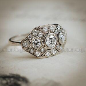 666b57634b9c 1 CT Diamante Vintage Eduardiano Antiguo anillo de compromiso ...