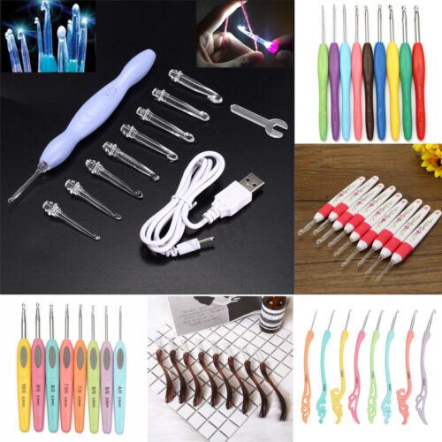 LED Light Soft Handle Knitting Needles Set Aluminum Crochet Hook Weave Yarn
