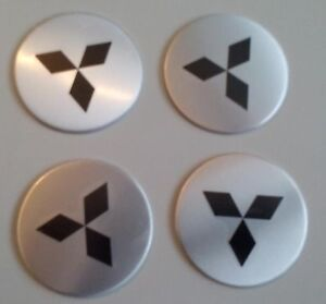 Details Zu 4 Mitsubischi Aufkleber 58mm Silber Embleme Logo Nabendeckel 26 Mi