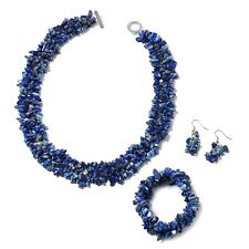 Steel Lapis Bracelet Earrings Necklace Set Jewelry For Her Size 18'' Ct 927.6