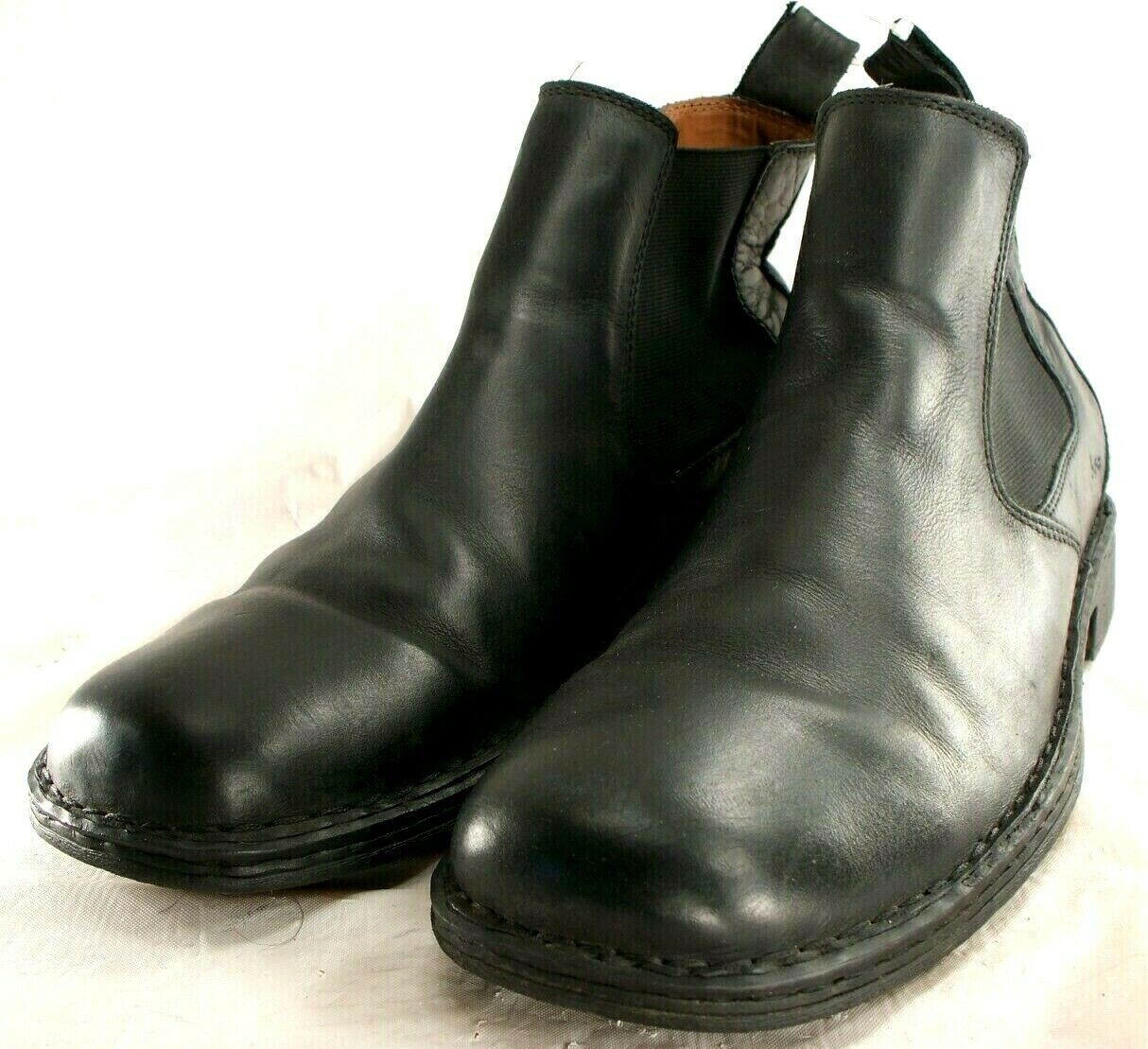 Born Boc Black Leather Pull On Jake Chelsea Ankle Boots Men's 13