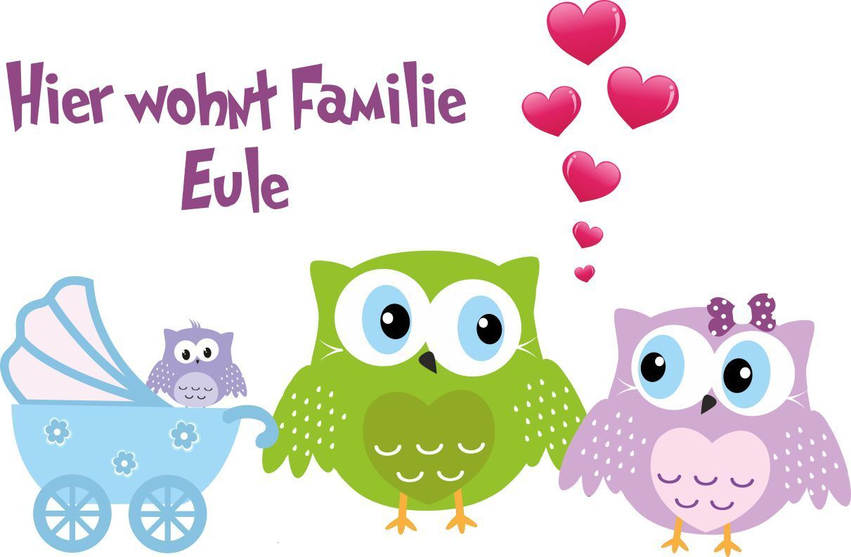 ADESIVO MURALE Famiglia di civette gufo gufo gufo Cuore Passeggino Baby AMORE da parete 4d2dad