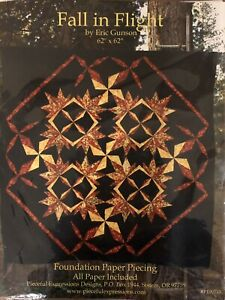 Foundation Paper Piecing Pattern 22 1//2 x 22 1//2 Wall Quilt Fallen Leaves
