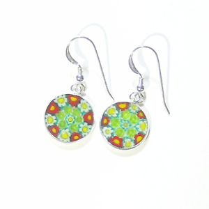 Made in Italy Murano Glass Millefiori Black Red And White Drop Earrings