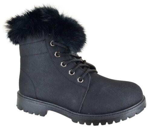 Las señoras de invierno cálido imitación piel forrada Zapatos para caminar para mujeres Botas al Tobillo Informales Talla