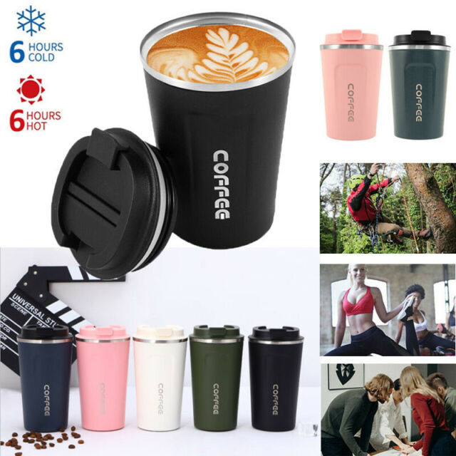 Stainless Steel Coffee Mugs Cup w/ Lid Vacuum Insulated Flask Travel Leakproof