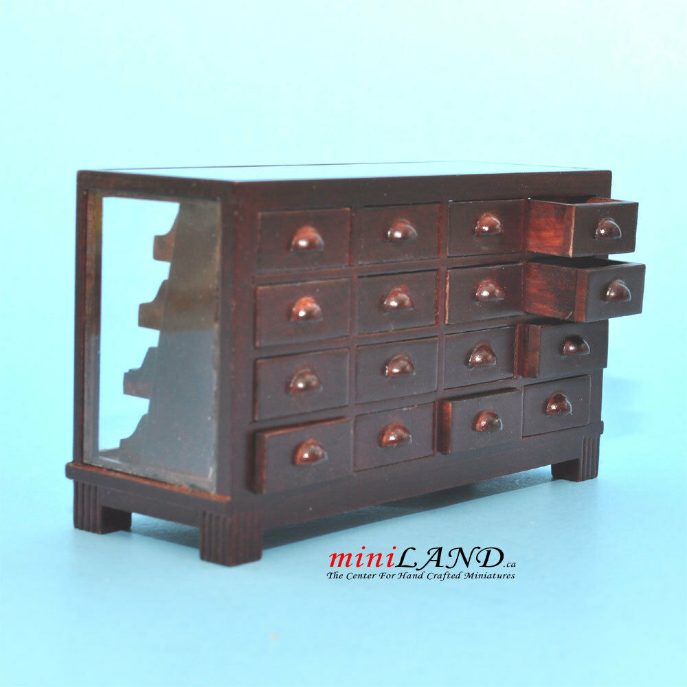 STORE HABERDASHER COUNTER 16 DRAWER UNIT ART DECO Dollhouse miniature 1 12 MH