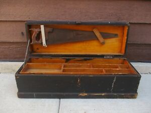 Antique Wooden Machinist Or Carpenters Tool Box Chest Custom Made