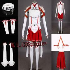 Cosplay Costume Set Halloween Women Anime Sword Art Online SAO Asuna Yuuki R649