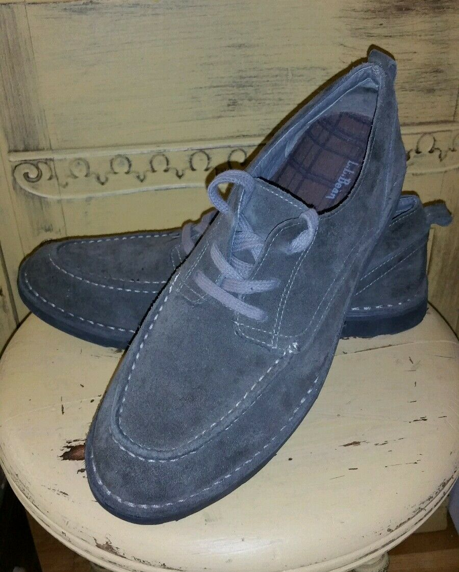 LL BEAN OLIVE BROWN SUEDE MENS OXFORDS CASUAL SHOES 11 M 06841 HIPSTER MOCCASINS
