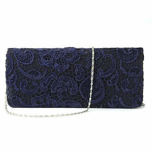 Image Is Loading Navy Blue Satin Lace Fl Clutch Bag Evening