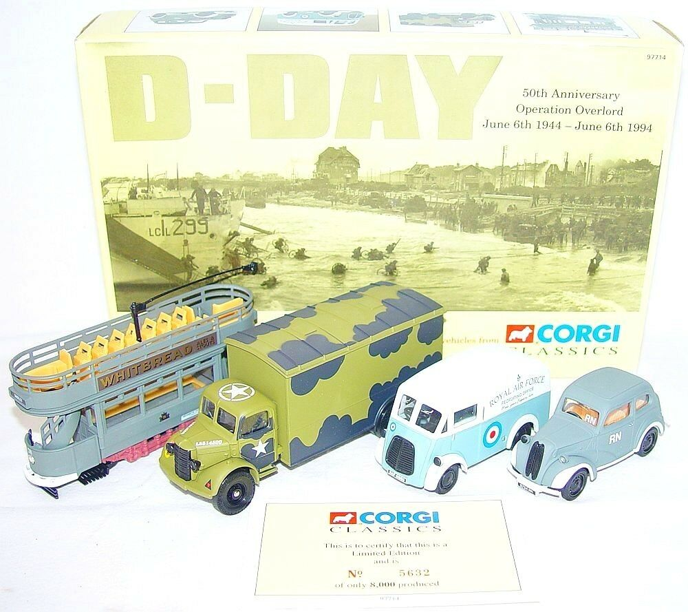 Corgi Toys 1 43 día D 50th aniversario operación Overlord 4-Car tranvía Set MIB`94