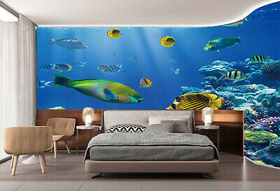3D Undersea world Fishes TV Background Wallpaper Kids Bedroom Mural Wall  Decor | eBay