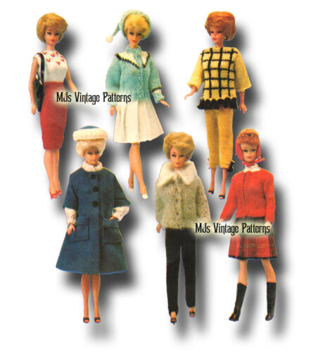 Vintage Doll Clothes Knitting Pattern ~ Barbie Tammy Stacey Midge