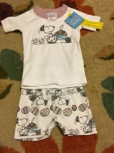 Girls' Clothing (newborn-5t) Nwt Hanna Andersson Organic Short Johns Pajamas Peanuts Beagle Bunnies 80 18-24m Careful Calculation And Strict Budgeting