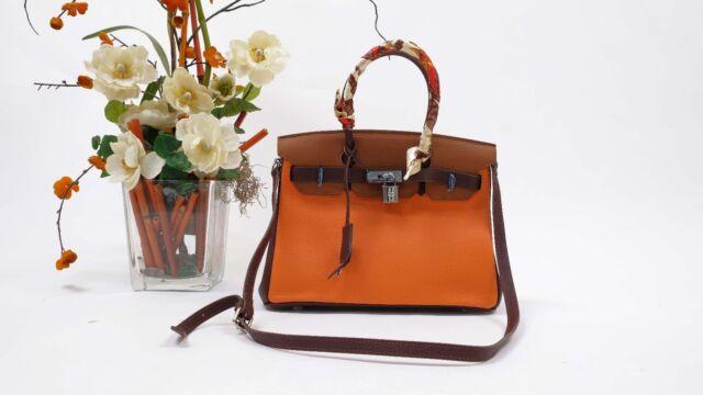 30CM Leather Designer Inspired Birkin Style Bag Purse Satchel NO LOGO