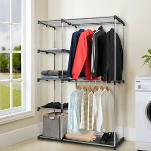 Image Is Loading Portable Closet Storage Organizer Garment Rack Wardrobe Clothes