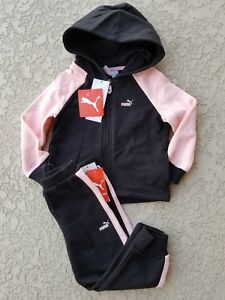 60bdb77ec9e3a Details about NWT PUMA Baby Girl 2 Piece Set Hoodie Pants Fleece Lined  Black/Pink SELECT SIZE