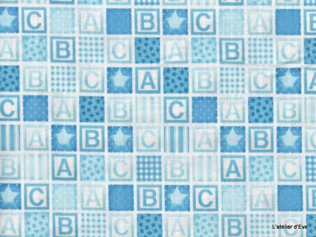 Coupon 50x110cm Baby Blocks Carreaux étoiles ABC Tissu coton patchwork 911B