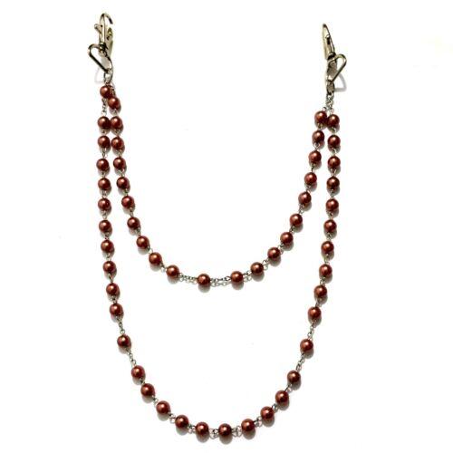 2 reihige Pantalon chaîne collier de perles Biker Chaîne Perles Chain Ceinture Chaîne Mousqueton