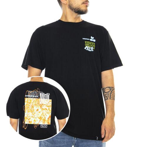 Black T-Shirt Crew-Neck Man Black Black Huf Woodstock Cobody came Tee