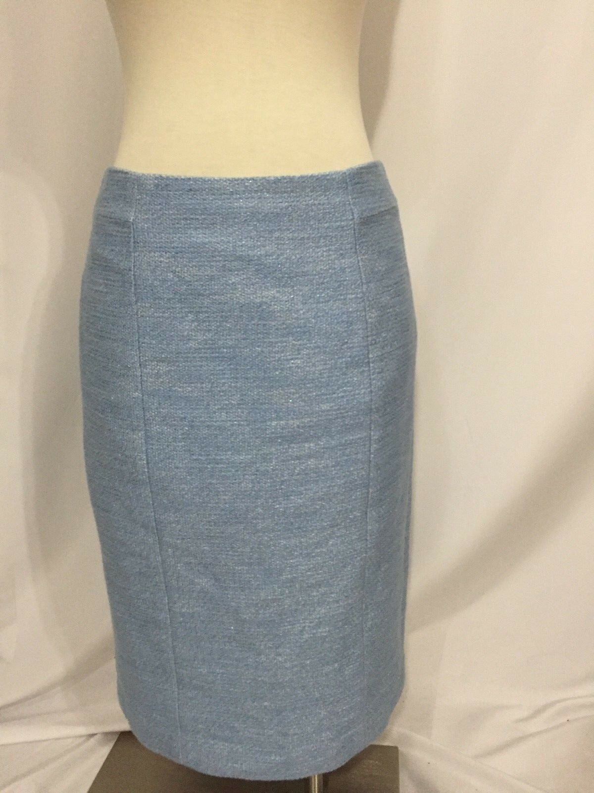 NEW Talbots Light bluee Sparkle Shimmer Tweed Pencil Skirt Beautiful 2