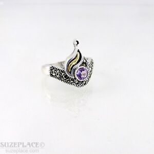 BOMA-STERLING-SILVER-925-RING-SIZE-8-MARCASITE-CHIPS-FAUX-AMETHYST-STONE