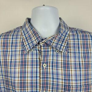 Peter-Millar-Blue-Red-Brown-Check-Plaid-Mens-Dress-Button-Shirt-Size-2XL-XXL