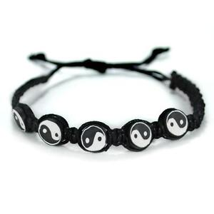 Image Is Loading Yin Yang Bracelet Adjule Surfer Fimo Bead Tai
